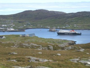 Ferry arriving in Castle Bay Barra